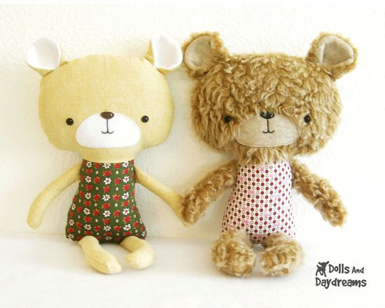 Teddy Bear Softie PDF Sewing Pattern Stuffed Toy Plush. $10.00, via Etsy.
