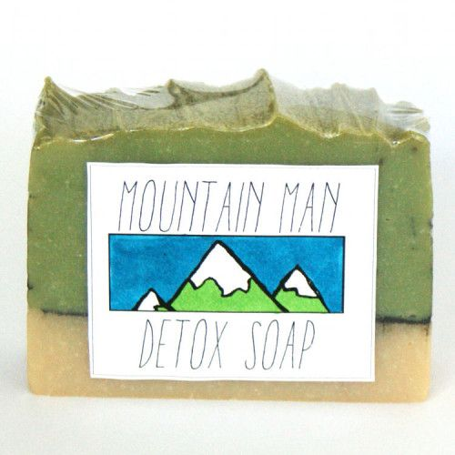 DIY Natural Handmade Mountain Man Detox Cold Process Soap Recipe with Printable Labels - Great Homemade Gift Idea for Men