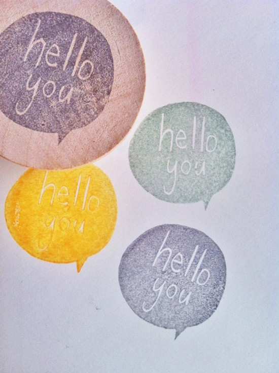 hello you hand carved rubber stamp by talktothesun