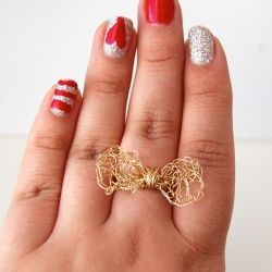 I created a tutorial with pictures on how to make this Gold Crochet Bow Ring. It is really easy and requires basic crocheting skills.