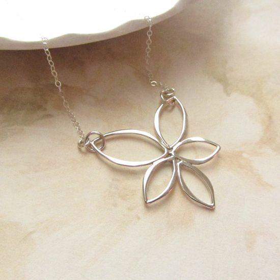 Sterling Silver Necklace with Lotus Flower by RachellesJewelryBox