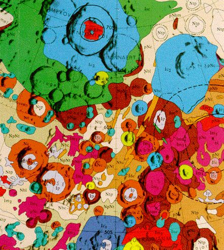"""""""Geologic Map of the South Side of the Moon,"""" 1979, USGS: Polarsterographic projection. #Map #Moon #USGS"""
