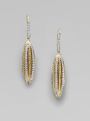 David Yurman Diamond Accented 18K Gold Drop Earrings