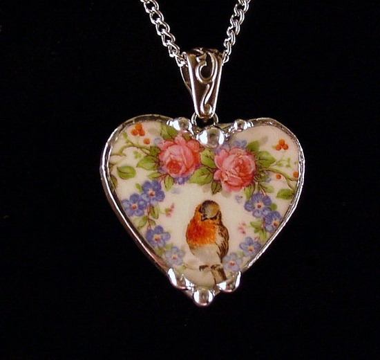 Robin bird in a wreath of roses and forget me nots heart necklace made from an antique broken china plate by Dishfunctional Designs
