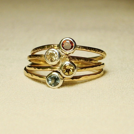 MADE TO ORDER - Halo of Gold - Hammered Stack Ring with Faceted Stone. $38.00, via Etsy.