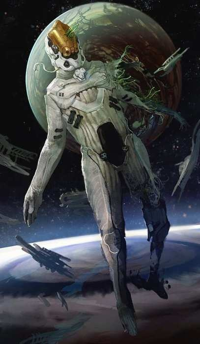 ripped apart in space, future, science fiction, futuristic clothing, sci-fi, astronaut
