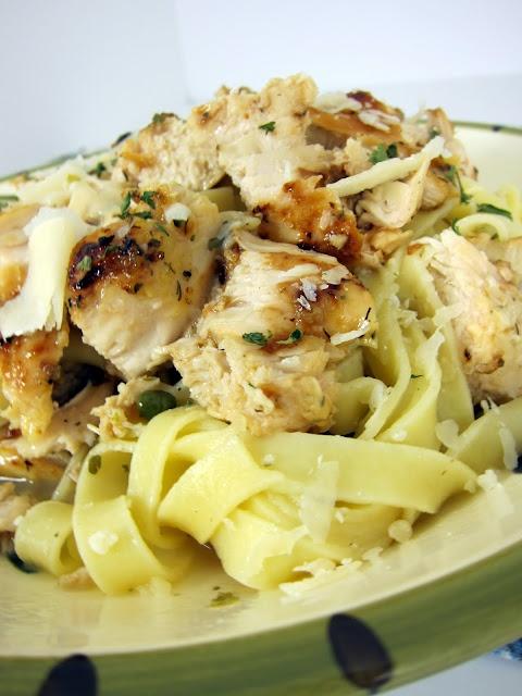 Grilled chicken piccata pasta