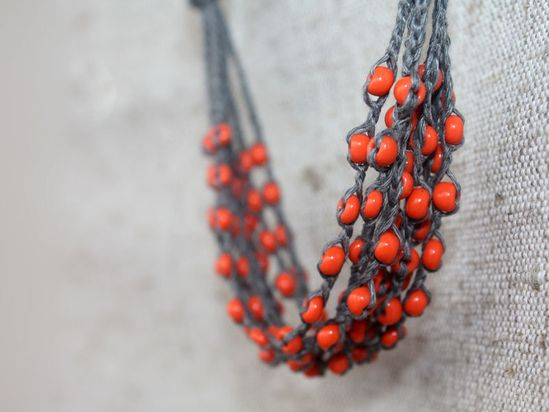 Grey orange rustic linen crochet necklace with tangerine glass beads Rustic jewelry Multi strand Free shipping. $20.00, via Etsy.