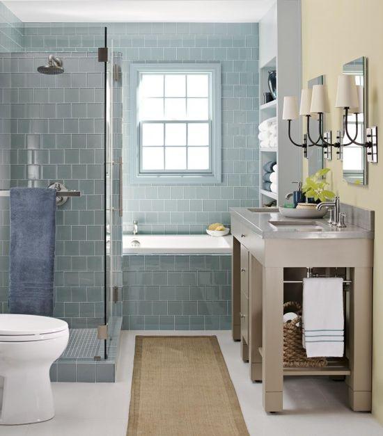 serene bathroom with blue glass tile