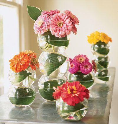 flower arrangement of stackable fishbowls