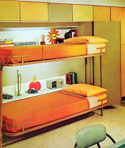 fold-down bunkbeds + mid-century color scheme + clean lines
