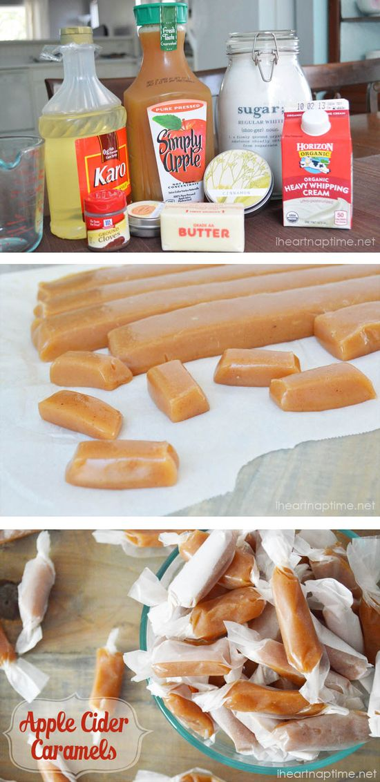 Homemade apple cider caramels
