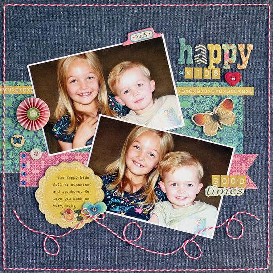 Happy Kids *Sunday Sketch* - Scrapbook.com--(Designed by QD Diggity)--Wendy Schultz via Scrapbook com onto Scrapbook Art.