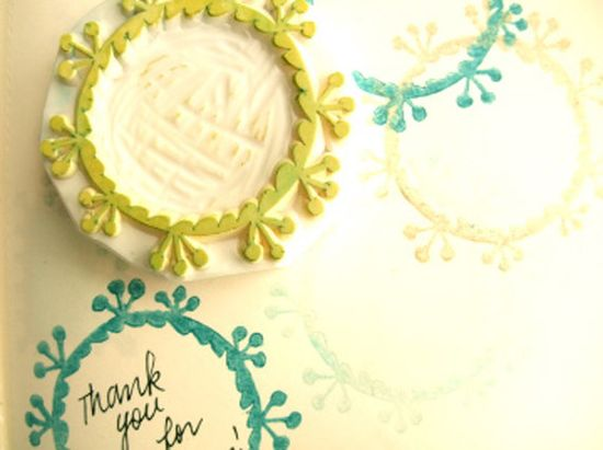 Frame rubber stamp hand carved by talktothesun.