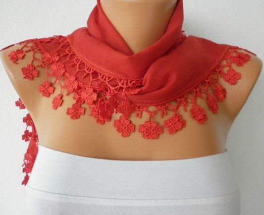 Red Scarf   Cotton  Scarf  Headband Necklace Cowl with by fatwoman, $13.50