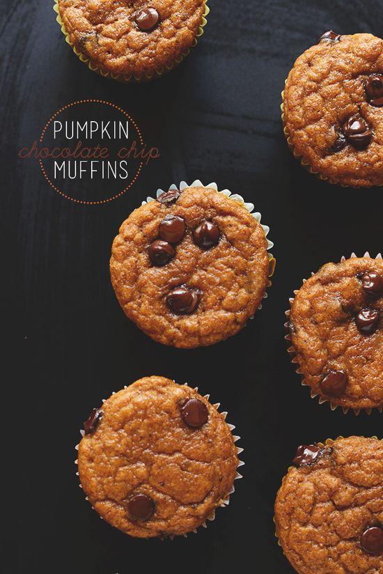 Pumpkin Chocolate Chip Muffins! #vegan minimalistbaker.com