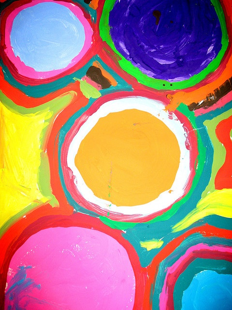 painted circles - shape and repetition (1st grade)
