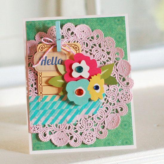 Hello Doily Handmade Greeting Card