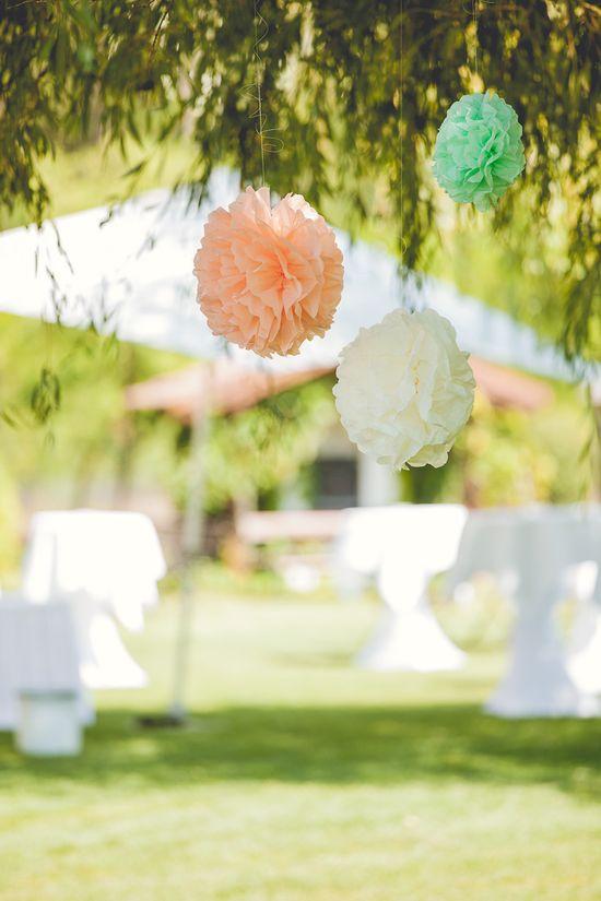 wedding garden decoration pompoms location: vila vita pannonia, burgenland, austria