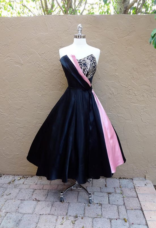 Vintage 1950's  Emma Domb Sequined Black Pink Satin Cocktail Dress