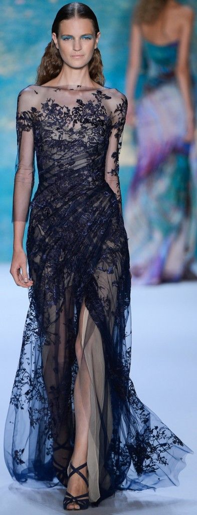 Monique Lhuillier /SS 2013.a stable sheer black lace dress for ao dai inspired