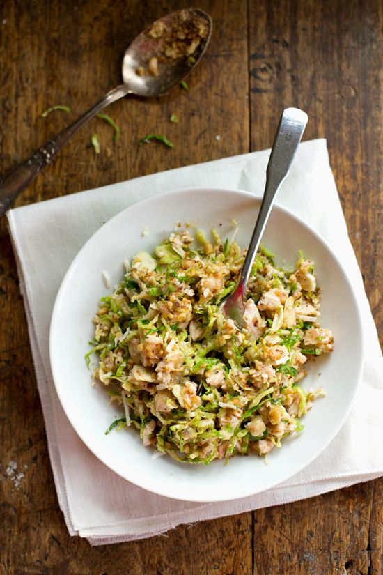 Chopped Brussels Sprouts Salad with chicken and walnuts