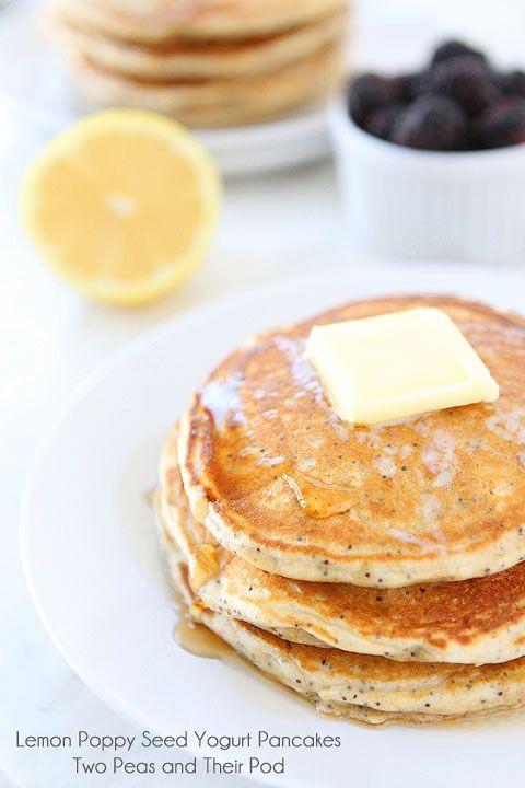 Lemon Poppy Seed Yogurt Pancakes on www.twopeasandthe... Light, fluffy and refreshing pancakes made with Greek yogurt.