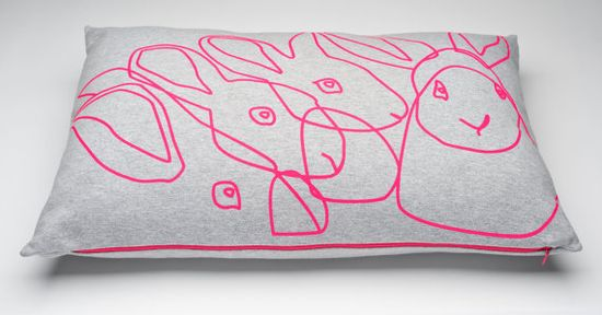 Neon pink rabbit cushion by Lala label