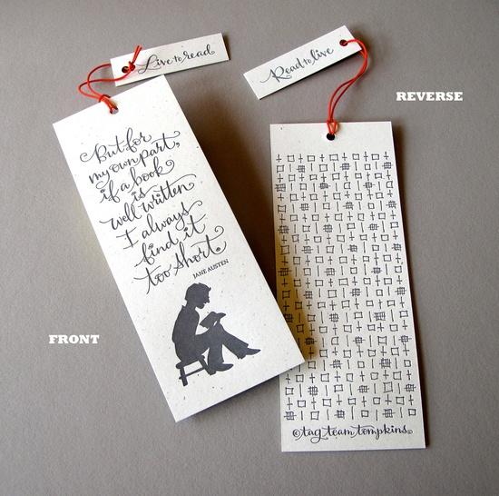 tagteamtompkins' newest release: letterpress bookmarks