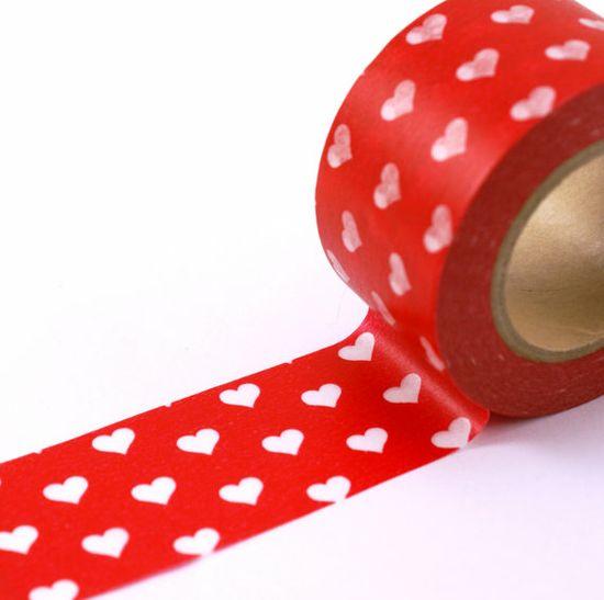 White Hearts on RED Valentine's Day Washi Masking Tape