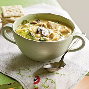 Low-Calorie Lunches | Broccoli and Chicken Noodle Soup | CookingLight.com