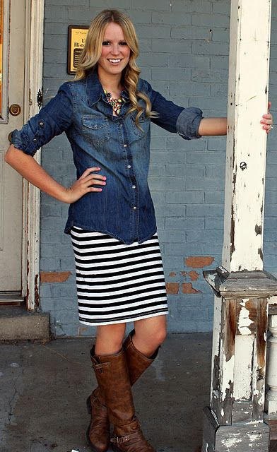 chambray shirt + striped skirt + brown boots