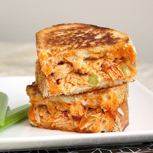 Buffalo Chicken Grilled Cheese Sandwiches. My 2 favs!