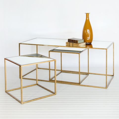"Chelsea Set of 3 Tables - Gold 18"" h x 45"" w x 20"" d     3-piece gold leaf table set with mirrored tops. Small tables are 15.25""h x 16""w x 16""d.    stock #: CHELSEA G"