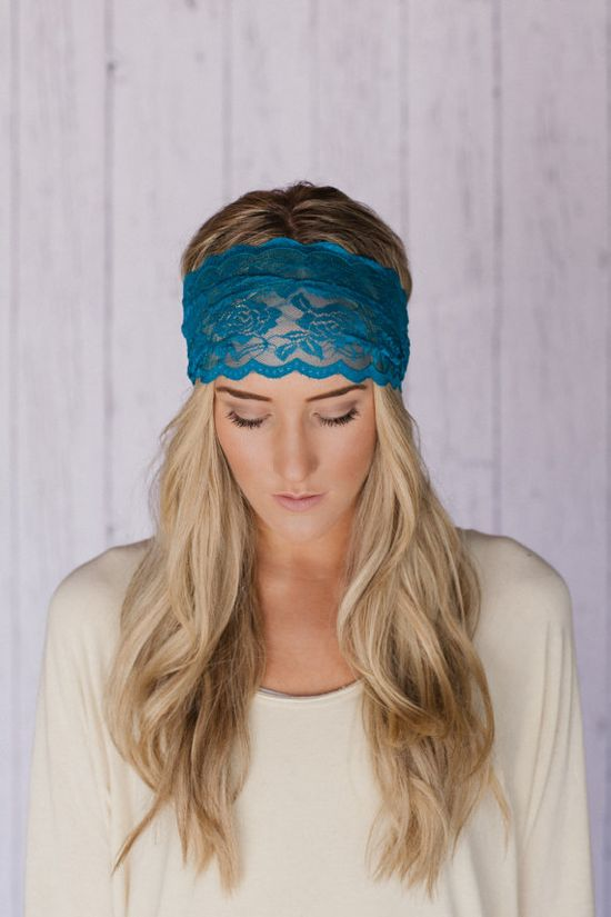Stretchy Wide Lace Headband Teal Sheer Lace by ThreeBirdNest, $12.99