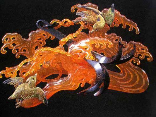 Blond tortoiseshell kanzashi - Japanese hair ornaments