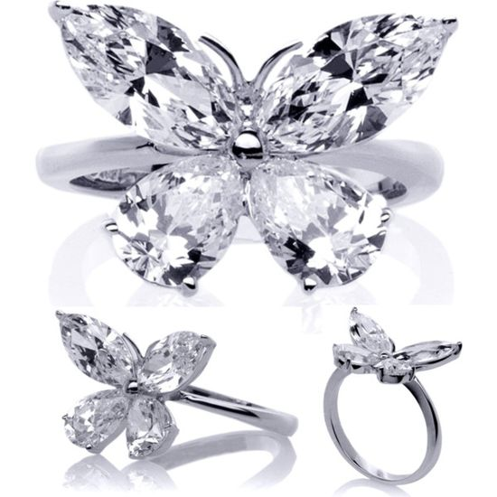 Mixed Cut Butterfly Diamond Ring