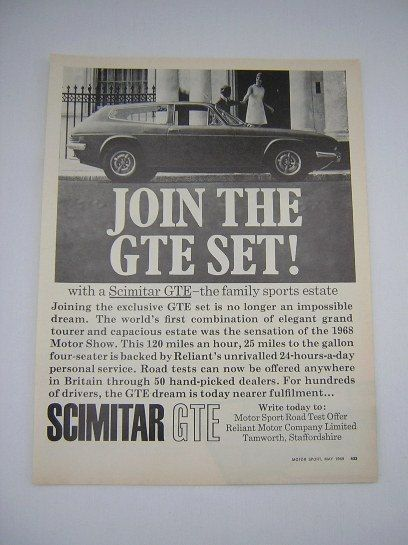 =-=Original Reliant Scimitar GTE Advert from 1969 - Sports Car Ad Advertisement