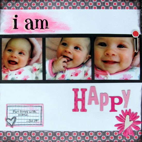 I am Happy #simple #scrapbook #layout #infant #baby