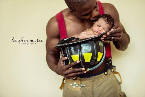 fireman daddy, newborn photography