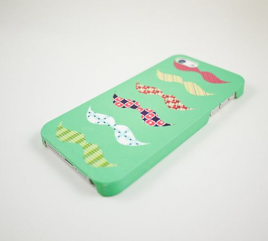 Mint Colorful Mustaches iPhone 5 Case, iPhone 5s Case, iPhone 5 Cover, Hard iPhone 5 Case