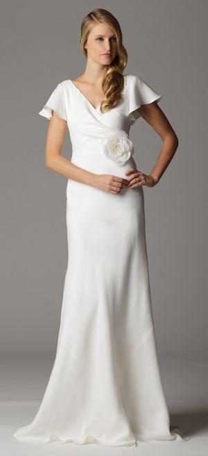 Style 620. Flutter sleeves surplice neckline wedding dress with built in waistband.  Ariadress.com