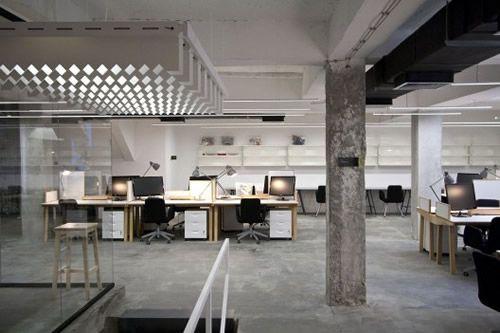 Nova Iskra Incubator Office Design - industrial, concrete, neutral