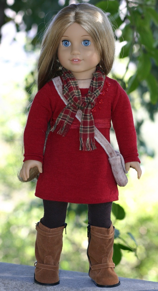Valentine Dress shown with scarf, purse and tights.