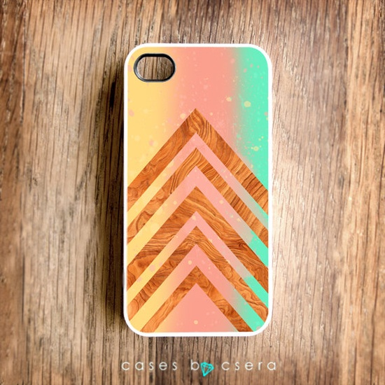Pastel iPhone 4 Case Paint Wood iPhone 4 Case Geometric Modern iPhone 4S Case iPhone 4S Case Fall Color Trend iPhone Cover.
