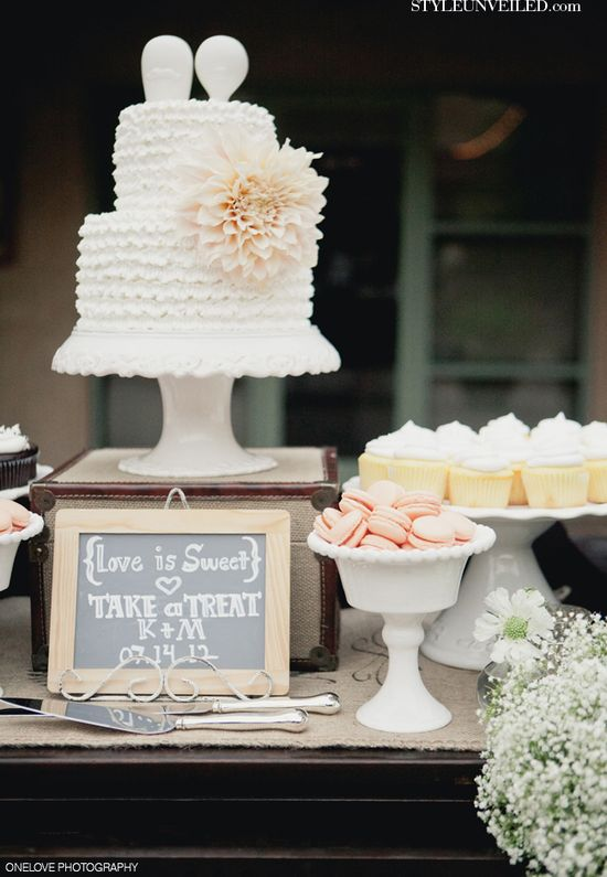 Love the idea of having a small wedding cake to save for our one year anniversary and wedding cupcakes for everyone to eat