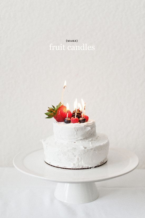 Never again get a mouthful of wax in your cake: fruit + wicks = fruit candles!