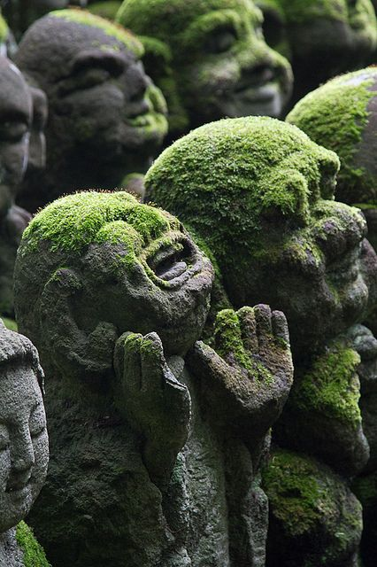Moss. Laughing Buddha statues in Kyoto, Japan