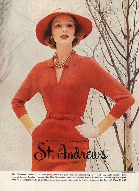 """The Italian Look - as interpreted by St. Andrews Sweaters"". #hat #vintage #fashion #1950s #dress"