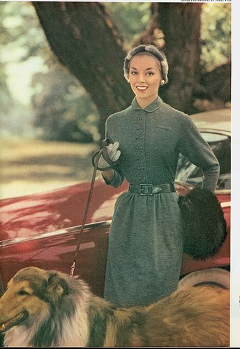 #vintage #dress #1950s #fashion #hat #dog